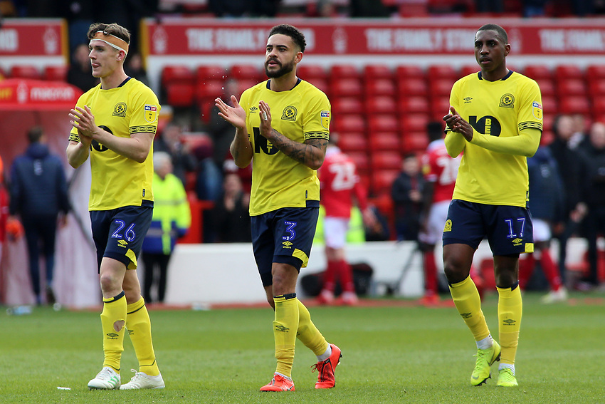 Blackburn Rovers' Darragh Lenihan (left), Derrick Williams & Amari'i Bell applauds the fans at the final whistle <br /> <br /> Photographer David Shipman/CameraSport<br /> <br /> The EFL Sky Bet Championship - Nottingham Forest v Blackburn Rovers - Saturday 13th April 2019 - The City Ground - Nottingham<br /> <br /> World Copyright © 2019 CameraSport. All rights reserved. 43 Linden Ave. Countesthorpe. Leicester. England. LE8 5PG - Tel: +44 (0) 116 277 4147 - admin@camerasport.com - www.camerasport.com