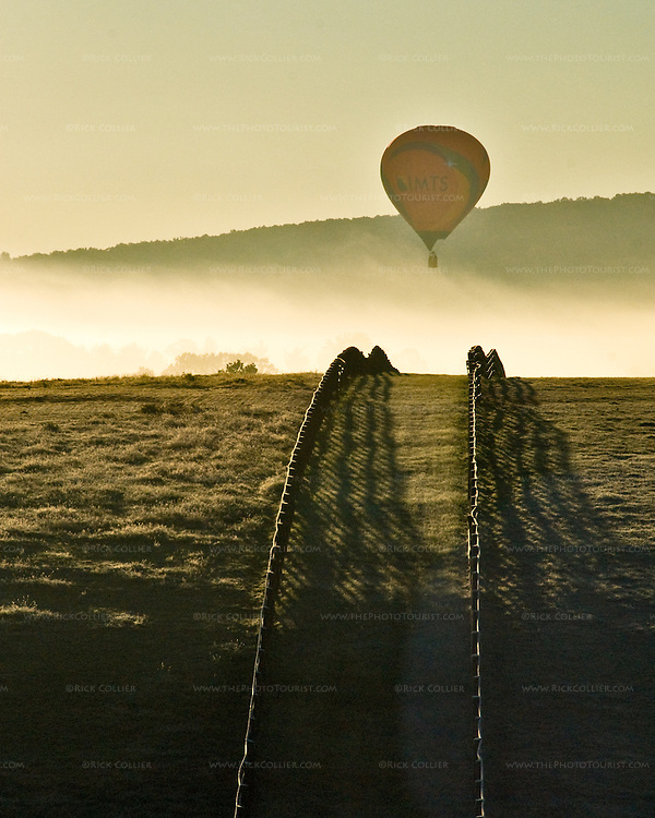 A balloon hovers in the distance, backlit by the risking sun in early morning at the annual Winchester Balloon Festival.  Long Branch Farm, Winchester, Virginia, USA.  © RickCollier.com.