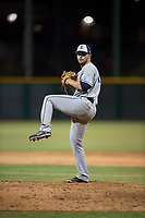 AZL Padres 1 relief pitcher Jake Sims (40) delivers a pitch during an Arizona League game against the AZL Cubs 1 at Sloan Park on July 5, 2018 in Mesa, Arizona. The AZL Cubs 1 defeated the AZL Padres 1 3-1. (Zachary Lucy/Four Seam Images)
