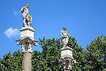 Seville has a long Roman history. These statues of Hecules and Julius Caesar stand in the Alameda deHercules Marcarena.