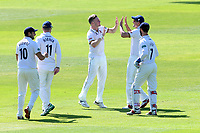 Sam Cook of Essex celebrates with his team mates after taking the wicket of Adam Lyth during Essex CCC vs Yorkshire CCC, Specsavers County Championship Division 1 Cricket at The Cloudfm County Ground on 4th May 2018