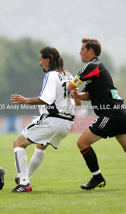 2005 inductees Marcelo Balboa (17) and John Harkes (6) tangle while playing as guest players for their former teams on Monday, August 29, 2005, in the Hall of Fame game played after the 2005 National Soccer Hall of Fame Induction Ceremony in Oneonta, New York. The Colorado Rapids defeated DC United 6-2.