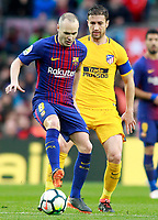 FC Barcelona's Andres Iniesta (l) and Atletico de Madrid's Gabi Fernandez during La Liga match. March 4,2018. (ALTERPHOTOS/Acero) /NortePhoto.com NORTEPHOTOMEXICO