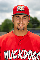 Batavia Muckdogs pitcher Iden Nazario #28 poses for a photo before the first day of practice for the start of the NY-Penn League at the Dwyer Stadium in Batavia, New York;  June 13, 2011.  Photo By Mike Janes/Four Seam Images