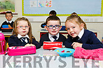 Chloe Hilliard, Padraig Barton and Keelin Flynn on their first day of school at Fybough NS on Tuesday