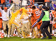 Charlotte, NC - DEC 2, 2017: Clemson Tigers head coach Dabo Swinney is doused with Gatorade after winning the ACC Championship game over Miami 38-3 at Bank of America Stadium Charlotte, North Carolina. (Photo by Phil Peters/Media Images International)