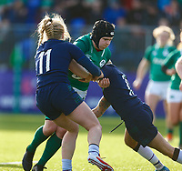 2nd February 2020; Energia Park, Dublin, Leinster, Ireland; International Womens Rugby, Six Nations, Ireland versus Scotland; Ciara Griffin (c) of Ireland is tackled by Megan Gaffney and Chloe Rollie of Scotland