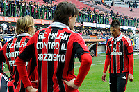 """Football: Italy, Serie A, AC Mailand, Mailand, 06.01.2013.players writing """"AC Milan against Racism"""" on his Shirt, Anti-Rassismus, Kevin Prince Boateng (right).©pixathlon .ITA AND FRA OUT !"""