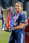 Olympique Lyonnais' Sarah Bouhaddi celebrates the victory in the UEFA Women's Champions League 2015/2016 Final match.May 26,2016. (ALTERPHOTOS/Acero)