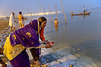 Kumbh Mela Hindu Festival, 2013, occurs every 12 years. Religious pilgrims taking holy bath in the Ganges River, Allahabad.
