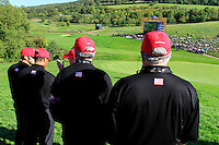 Some of Team USA wait at the 15th green during Match 7 of the Singles Matches during the Final Day of the The 2010 Ryder Cup at the Celtic Manor, Newport, Wales, 3rd October 2010..(Picture Eoin Clarke/www.golffile.ie)
