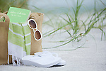 USA, Florida, St. Pete Beach, Beach bag and sandals on beach