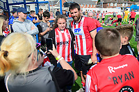Lincoln City's Michael Bostwick poses for photographs with fans<br /> <br /> Photographer Chris Vaughan/CameraSport<br /> <br /> Football Pre-Season Friendly (Community Festival of Lincolnshire) - Gainsborough Trinity v Lincoln City - Saturday 6th July 2019 - The Martin & Co Arena - Gainsborough<br /> <br /> World Copyright © 2018 CameraSport. All rights reserved. 43 Linden Ave. Countesthorpe. Leicester. England. LE8 5PG - Tel: +44 (0) 116 277 4147 - admin@camerasport.com - www.camerasport.com