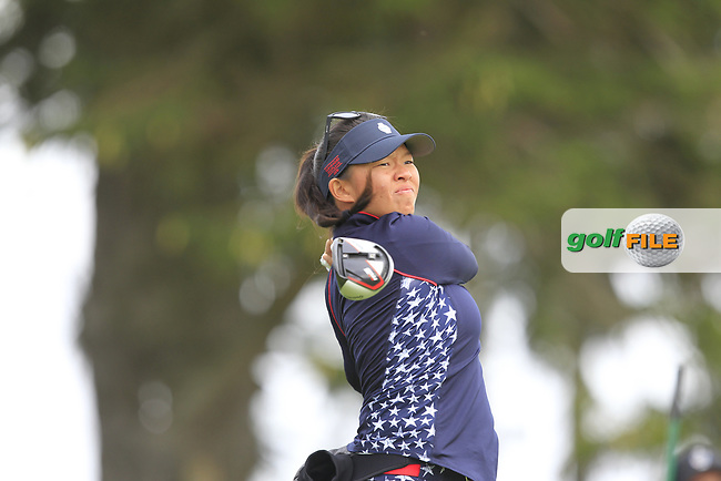 Megan Khang (USA) on the 2nd tee during Day 3 Singles at the Solheim Cup 2019, Gleneagles Golf CLub, Auchterarder, Perthshire, Scotland. 15/09/2019.<br /> Picture Thos Caffrey / Golffile.ie<br /> <br /> All photo usage must carry mandatory copyright credit (© Golffile   Thos Caffrey)