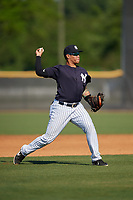 New York Yankees Nelson Gomez (34) during a Minor League Spring Training game against the Philadelphia Phillies on March 23, 2019 at the New York Yankees Minor League Complex in Tampa, Florida.  (Mike Janes/Four Seam Images)