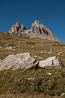 Rocky outcroppings seen across the Vallee des Glaciers from the Tour du Mont Blanc.