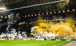 Solna 2015-08-10 Fotboll Allsvenskan AIK - Djurg&aring;rdens IF :  <br /> Vy &ouml;ver Friends Arena under pausen med r&ouml;k efter att AIK:s supportrar eldar med bangaler inf&ouml;r den andra halvleken av matchen mellan AIK och Djurg&aring;rdens IF <br /> (Foto: Kenta J&ouml;nsson) Nyckelord:  AIK Gnaget Friends Arena Allsvenskan Djurg&aring;rden DIF inomhus interi&ouml;r interior supporter fans publik supporters r&ouml;k bengal bengaler