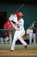 Harrisburg Senators shortstop Osvaldo Abreu (10) at bat during a game against the Bowie Baysox on May 16, 2017 at FNB Field in Harrisburg, Pennsylvania.  Bowie defeated Harrisburg 6-4.  (Mike Janes/Four Seam Images)
