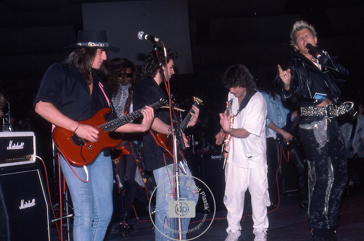 Ritchie Sambora, Dweezil Zappa, Billy Idol,Eddie Van Halen at NAMM 1987.