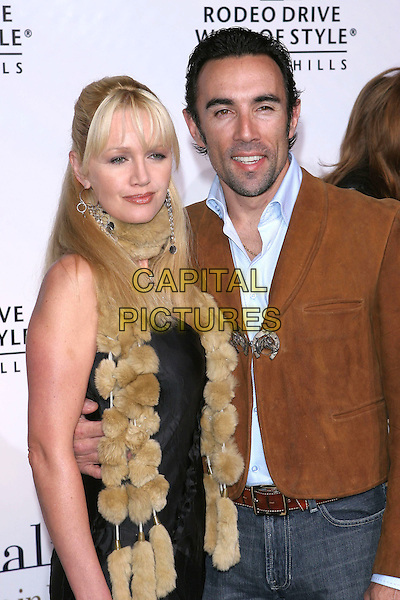 FRANCESCO QUINN & GUEST.2005 Rodeo Drive Walk Of Style Honoring Herb Ritts and Mario Testino held on Rodeo Drive. Beverly Hills, CA.March 20th, 2005.Photo Credit: Jacqui Wong/AdMedia.half length fur scarf brown suede jacket coat.www.capitalpictures.com.sales@capitalpictures.com.© Capital Pictures.