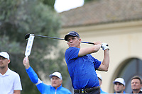Anders Hansen (DEN) tees off the 10th tee during Saturday's storm delayed Round 2 of the Andalucia Valderrama Masters 2018 hosted by the Sergio Foundation, held at Real Golf de Valderrama, Sotogrande, San Roque, Spain. 20th October 2018.<br /> Picture: Eoin Clarke | Golffile<br /> <br /> <br /> All photos usage must carry mandatory copyright credit (&copy; Golffile | Eoin Clarke)