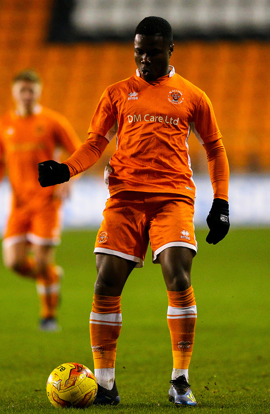 Blackpool's Andy Kanga<br /> <br /> Photographer Alex Dodd/CameraSport<br /> <br /> The FA Youth Cup Third Round - Blackpool U18 v Derby County U18 - Tuesday 4th December 2018 - Bloomfield Road - Blackpool<br />  <br /> World Copyright © 2018 CameraSport. All rights reserved. 43 Linden Ave. Countesthorpe. Leicester. England. LE8 5PG - Tel: +44 (0) 116 277 4147 - admin@camerasport.com - www.camerasport.com