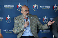 RALEIGH, NC - FEBRUARY 27: North Carolina FC team owner Steve Malik addresses the media at One Glenwood on February 27, 2020 in Raleigh, North Carolina.