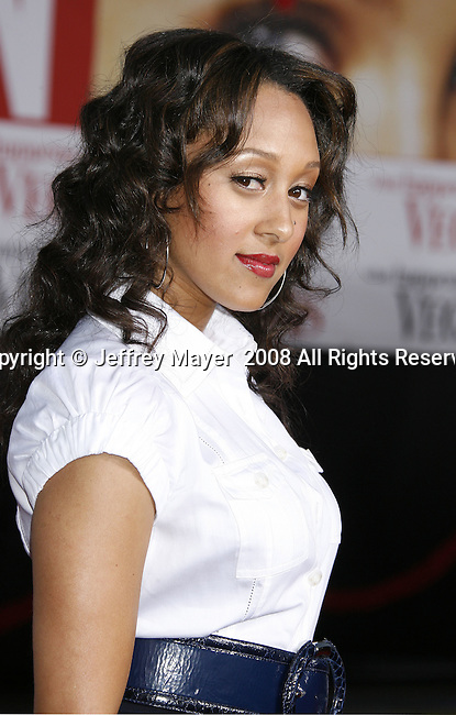 """Actress Tamara Mowry arrives at the Premiere Of Fox's """"What Happens In Vegas"""" on May 1, 2008 at the Mann Village Theatre in Los Angeles, California."""