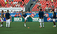 06 June 2009: Los Angeles Galaxy players warm-up during MLS action at BMO Field Toronto in a game between LA Galaxy and Toronto FC. .The Galaxy  won 2-1.