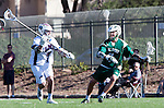 Los Angeles, CA 02/06/16 - Jack McKay (Loyola Marymount #7) and Joe Dresser (Cal Poly #7)in action during the Cal Poly SLO Mustangs vs Loyola Marymount Lions MCLA Men's Lacrosse game.  Cal Poly defeated LMU 24-5