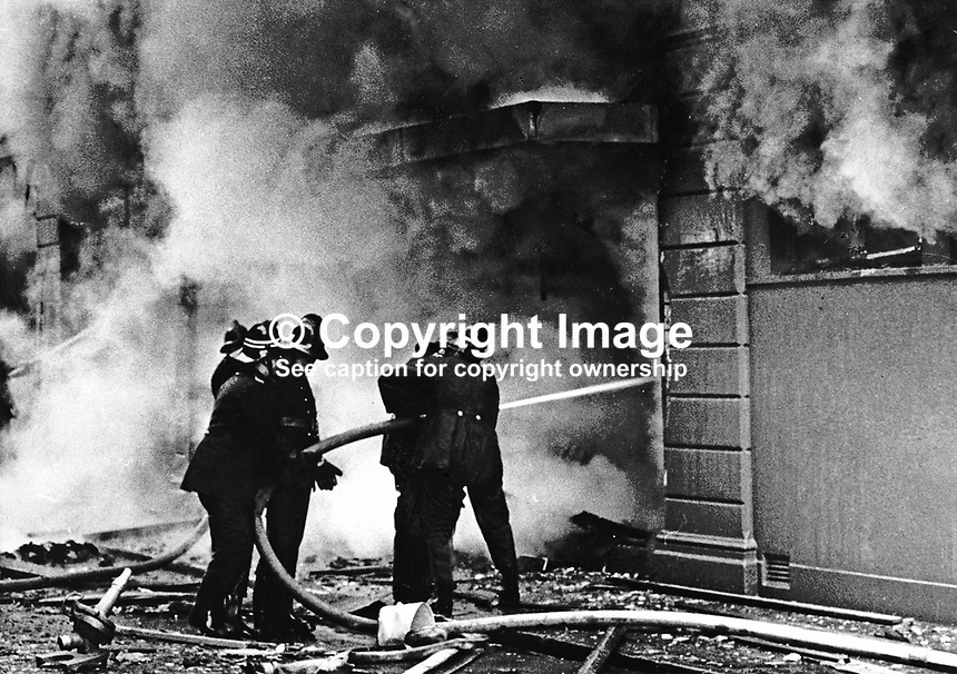 Firemen douse blaze following Provisional IRA explosion at the Copper Room Restaurant, part of the Grand Central Hotel in the centre of Belfast. 2nd December 1971. 197112020387<br /> <br /> Copyright Image from Victor Patterson, 54 Dorchester Park, Belfast, UK, BT9 6RJ<br /> <br /> Tel: +44 28 9066 1296<br /> Mob: +44 7802 353836<br /> Voicemail +44 20 8816 7153<br /> Skype: victorpattersonbelfast<br /> Email: victor@victorpatterson.com<br /> Email: victorpatterson@me.com (back-up)<br /> <br /> IMPORTANT: If you wish to use this image or any other of my images please go to www.victorpatterson.com and click on the Terms &amp; Conditions. Then contact me by email or phone with the reference number(s) of the image(s) concerned.