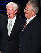 United States Representative Barney Frank (R) (D-MA) and U.S. Senator Chris Dodd (L) (D-CT) talk with each other after U.S. President Barack Obama signed the Dodd-Frank Wall Street Reform and Consumer Protection Act at the Ronald Reagan Building, Wednesday, July 21, 2010 in Washington, DC. The bill is the strongest financial reform legislation since the Great Depression and also creates a consumer protection bureau that oversees banks on mortgage lending and credit card practices. .Credit: Win McNamee - Pool via CNP