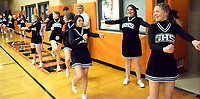 Westside Eagle Observer/MIKE ECKELS<br /> <br /> During the Gravette-Prairie Grove basketball games at the competition gym Jan. 14, the Lions Cheer Team line the end of the court to cheer on the Lions basketball team during the fourth quarter.
