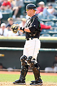 April 11, 2010:  Catcher Kris Watts of the Altoona Curve during a game at Blair County Ballpark in Altoona, PA.  Altoona is the Double-A Eastern League affiliate of the Pittsburgh Pirates.  Photo By Mike Janes/Four Seam Images