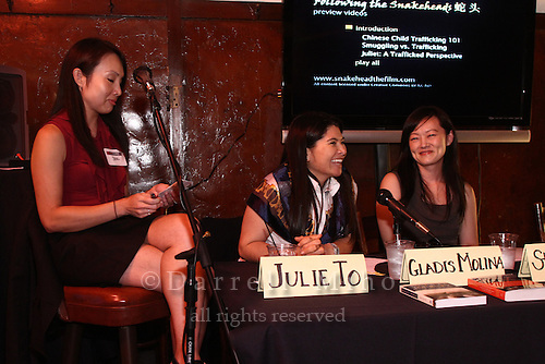 Sep. 08, 2010; Los Angeles, CA - KIND: Kids In Need of Defense panel discussion and mixer at the Far Bar in Little Tokyo. ..photo credit: Darrell Miho..(L to R).Moderator: Julie To, Staff Attorney, CA Dept of Real Estate.Panelists:.Gladis Molina, KIND Pro Bono Attorney Coordinator - Los Angeles.Stacey Wang, Associate, Holland & Knight LLP