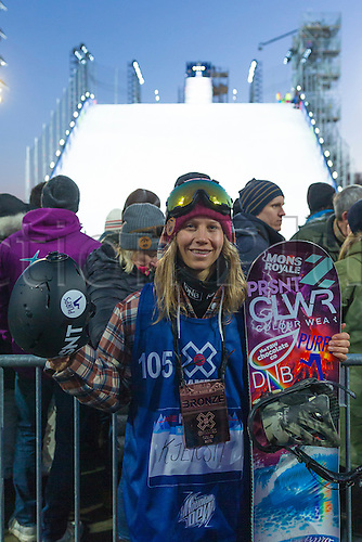 27.02.2016. Toyen, Big Jump Oslo, Norway.  Red Bull X Games Oslo 2016. Ladies Snowboard Big Air Final. Kjersti Oestgaard Buaas of Norway  during the Ladies Snowboard Big Air Final at the Red Bull X Games Oslo 2016 in Toyen Big Jump  Oslo, Norway.