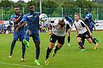 09.07.2017, Sportplatz, Ottobeuren, GER, FSP, SV Sandhausen vs FC Z&uuml;rich, im Bild Jagne Pa Modou (Z&uuml;rich, #18), Sangone Sarr Z&uuml;rich #29), Sahin Ayg&uuml;nes (Sandhausen #43) k&ouml;pft &uuml;bers Tor<br /> <br /> Foto &copy; nordphoto / Hafner