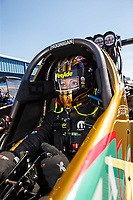 Mar 16, 2018; Gainesville, FL, USA; NHRA top fuel driver Leah Pritchett during qualifying for the Gatornationals at Gainesville Raceway. Mandatory Credit: Mark J. Rebilas-USA TODAY Sports