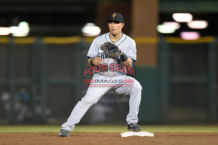 Surprise Saguaros infielder Jace Peterson (33) during an Arizona Fall League game against the Scottsdale Scorpions on October 15, 2014 at Scottsdale Stadium in Scottsdale, Arizona.  Surprise defeated Scottsdale 13-11.  (Mike Janes/Four Seam Images)