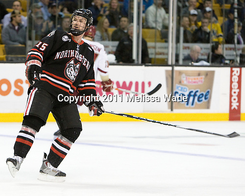 Brodie Reid (Northeastern - 15) - The Boston College Eagles defeated the Northeastern University Huskies 5-4 in their Hockey East Semi-Final on Friday, March 18, 2011, at TD Garden in Boston, Massachusetts.