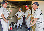 19 March 2015: The Walt Disney World Philharmonic Saxophone Quartet wait in the dugout, about to entertain the fans prior to a Spring Training game between the Miami Marlins and the Atlanta Braves at Champion Stadium in the ESPN Wide World of Sports Complex in Kissimmee, Florida. The Braves defeated the Marlins 6-3 in Grapefruit League play. Mandatory Credit: Ed Wolfstein Photo *** RAW (NEF) Image File Available ***