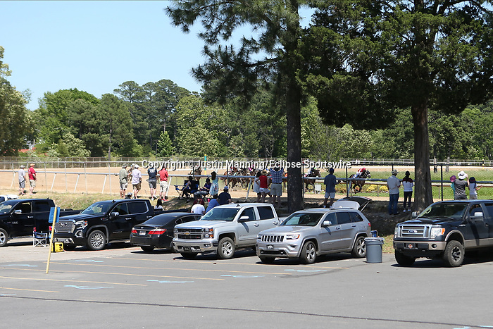 May 2, 2020: Fans lined up along the fence in the final turn showing social distance during the Arkansas Derby Day at Oaklawn Racing Casino Resort in Hot Springs, Arkansas on May 2, 2020. Justin Manning/Eclipse Sportswire/CSM
