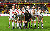 20191102 - LENS , FRANCE : LOSC's players with Elisa Launay (16) , Charlotte Sawaryn (19) , Eva Fremaux (4) , Emeline Saint-Georges (5) , Agathe Ollivier (25) ,  Julie Dufour (17) , Aurore Paprzycki (6), Carla Polito (13), Silke Demeyere (10), Maite Boucly (15) and Noemie Mouchon (33) pictured posing for the teampicture during the female soccer match between Arras Feminin and Lille OSC feminin, on the 8th matchday in the French Women's Ligue 2 – D2 at the Stade Bollaert Delelis stadium , Lens . Saturday 2 November 2019 PHOTO DAVID CATRY | SPORTPIX.BE