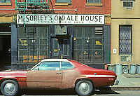 New York City: McSorley's Old Ale House, 15 E. 7th, East Village. Oldest Irish tavern in New York. (Note: The year 1854 not authenticated.) Famous haunt for writers. Photo '78.