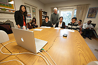 Occidental College students and local grass-roots youth leaders participate in a live, online discussion of environmental justice issues with top White House officials on Wednesday, December 15, 2010. The nine students and youth leaders, gathered in a conference room at the College's Urban & Environmental Policy Institute, will ask questions and share their concerns about food justice, green jobs, healthy communities, and other issues with federal officials in Washington such as Lisa Jackson, administrator of the Environmental Protection Agency, and Nancy Sutley, chair of the Council on Environmental Quality.<br /> The aim of this White House environmental justice forum-the first for the Obama administration --is to ensure that overburdened and low-income communities have the opportunity to enjoy the health and economic benefits of a clean environment. The students involved include Alexandria Brown '12, Kristen Leahy '11, Michael Sin '11, David Telfort '12, and Margeau Valtreau '13. (Photo by Marc Campos, Occidental College Photographer)
