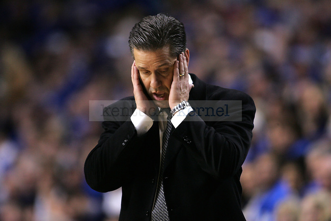 Head coach John Calipari worries after UK is fouled during the first half of UK men's basketball game against Georgia at Rupp Arena on Saturday, Jan. 9, 2010. The Cats were down 35-34 to the Bulldogs at halftime. Photo by Adam Wolffbrandt | Staff