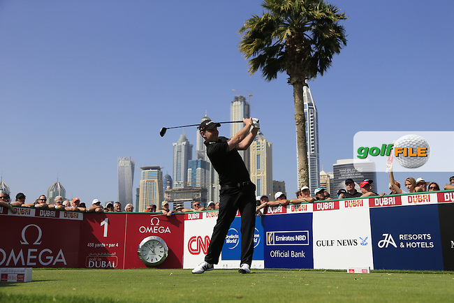 Stephen GALLACHER (SCO) tees off the 1st tee during Sunday's Final Round of the 2015 Omega Dubai Desert Classic held at the Emirates Golf Club, Dubai, UAE.: Picture Fran Caffrey, www.golffile.ie: 2/1/2015