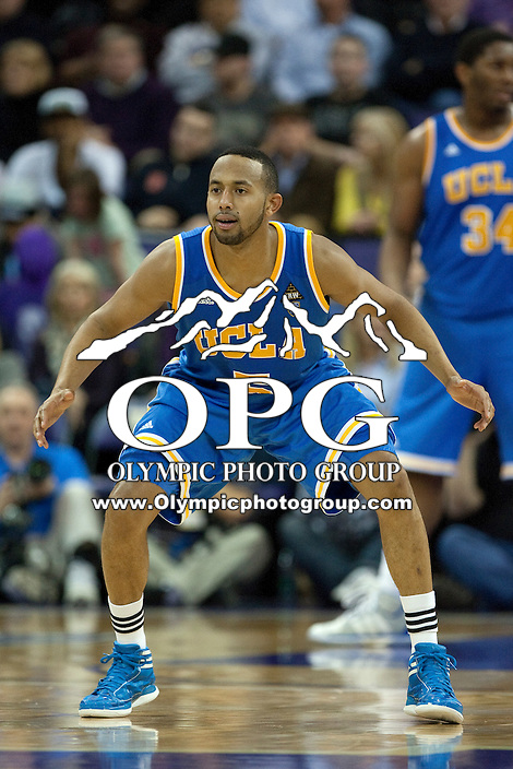 Feb 2, 2012:  UCLA's #5 Jerime Anderson sets up on defense against Washington.  Washington defeated UCLA 71-69 at Alaska Airlines Arena Seattle, Washington...