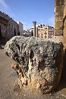 Relief; columns and capitals in the distance, Colonial Forum; III and II Century BC, Tarragona (Tarraco, Hispania Citerior), Catalonia, Spain