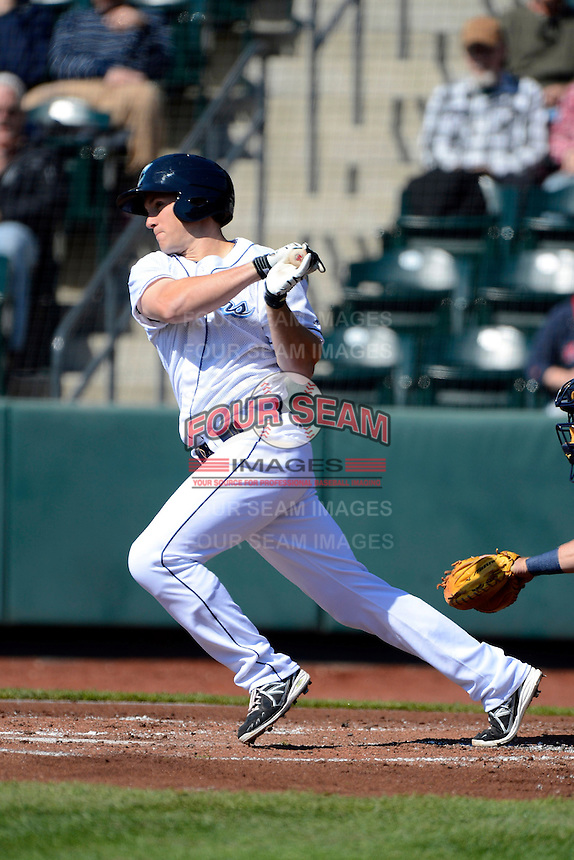 Columbus Clippers designated hitter Cord Phelps #24 during a game against the Toledo Mudhens on April 22, 2013 at Huntington Park in Columbus, Ohio.  Columbus defeated Toledo 3-0.  (Mike Janes/Four Seam Images)